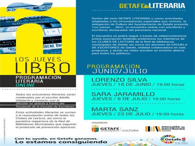Getafe organiza 'Los jueves…libro' con encuentros on-line con destacados escritores del panorama nacional