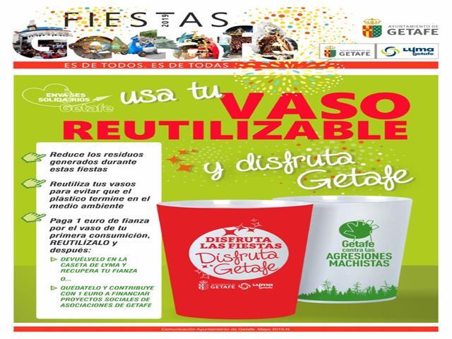 Getafe introduce 40.000 vasos reciclables en las Fiestas