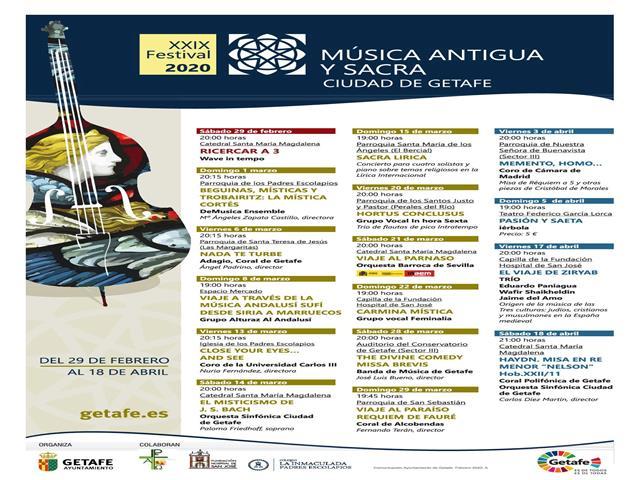 El XXIX Festival de Música Antigua y Sacra de Getafe ofrecerá 16 conciertos