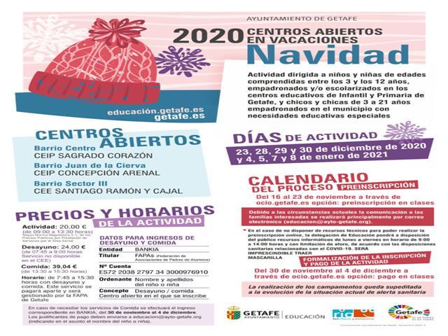 El lunes 16 se abre el plazo de preinscripción para los centros abiertos en vacaciones de Navidad 2020