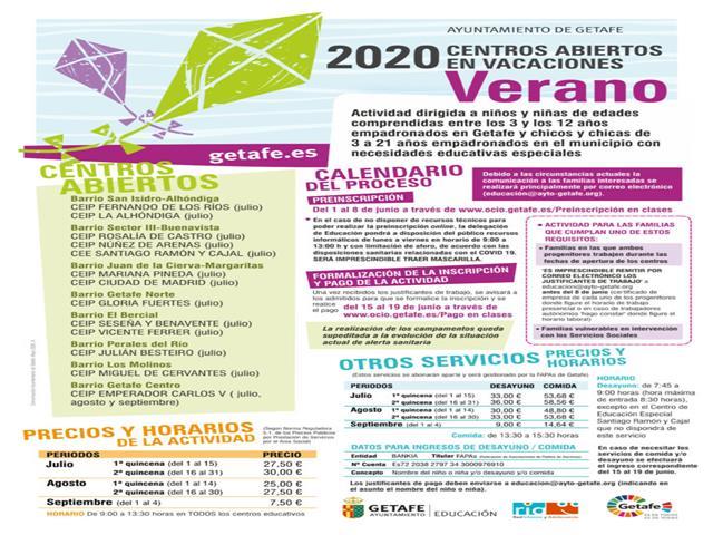 Getafe abre el plazo de preinscripción para los Centros Abiertos en Vacaciones de Verano 2020