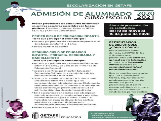 Comienza el periodo de escolarización en centros públicos de Getafe para el próximo curso 2020/21