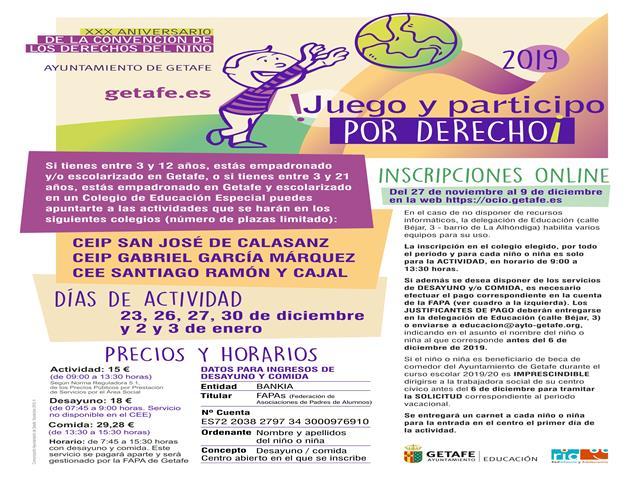 El Ayuntamiento de Getafe organiza el proyecto '¡Juego y participo por derecho!' para facilitar la conciliación de las familias en Navidad
