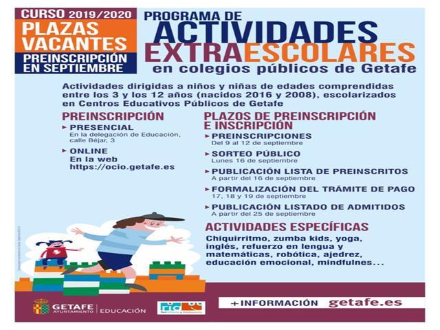 Abierto el plazo de preinscripción en las actividades extraescolares con vacantes organizadas por el Ayuntamiento de Getafe