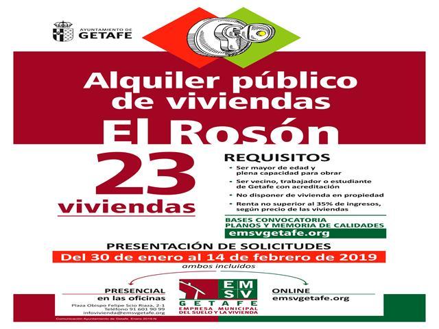 Desde el 30 de enero se podrán solicitar las nuevas viviendas públicas en alquiler de la EMSV en El Rosón