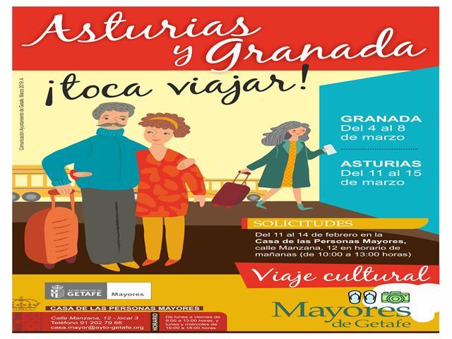 Nuevos viajes para personas mayores a Granada y Asturias
