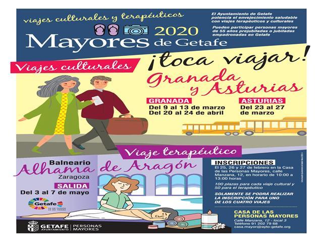 El Ayuntamiento de Getafe organiza nuevos viajes para personas mayores a Granada, Asturias y Zaragoza