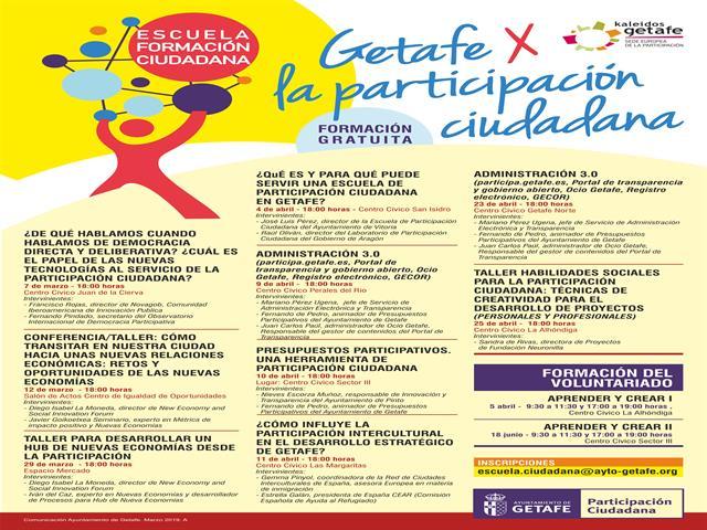 El Ayuntamiento de Getafe pone en marcha una escuela de formación ciudadana