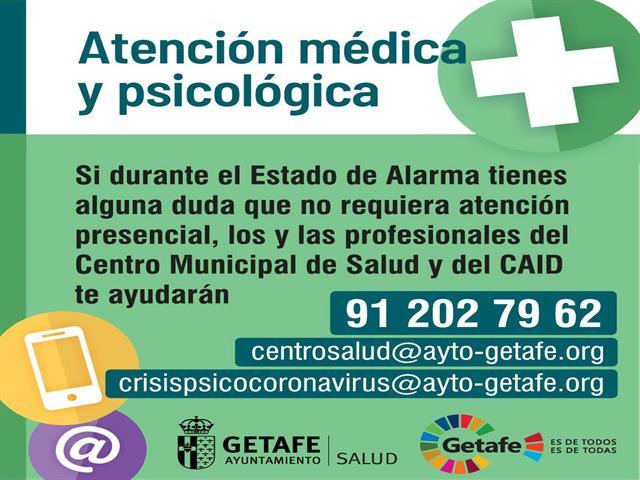 El Centro Municipal de Salud y el CAID habilitan un teléfono y correo electrónico para atender dudas médicas y psicológicas
