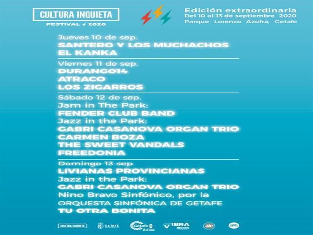 El Kanka, Carmen Boza, Tu Otra Bonita o la Orquesta Sinfónica de Getafe en Cultura Inquieta 2020