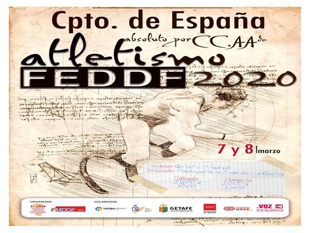 Getafe será la sede del Campeonato de España Absoluto de Atletismo por Comunidades Autónomas FEDDF 2020, en el que competirán atletas con discapacidad