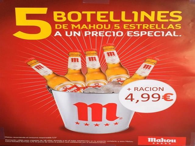 Cubo con 5 botellines Mahou + 1 ración por sólo 4,99€