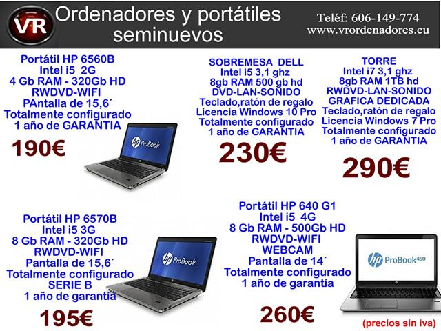 Portatil HP  intel i5 4 Gb Ram 190€