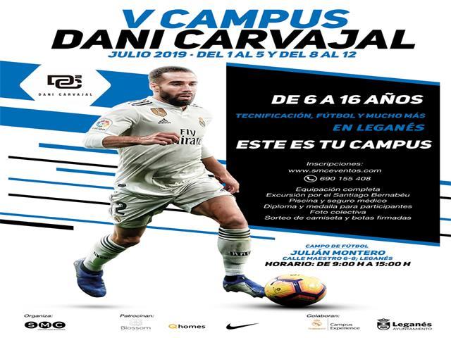 Dani Carvajal presenta junto al alcalde y la concejala de Deportes la V edición de su campus, que realiza en Leganés este verano