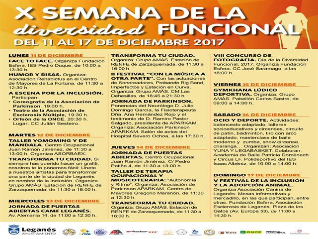 Ayuntamiento y entidades locales enviarán un gran mensaje por la inclusión durante la X Semana de la Diversidad Funcional