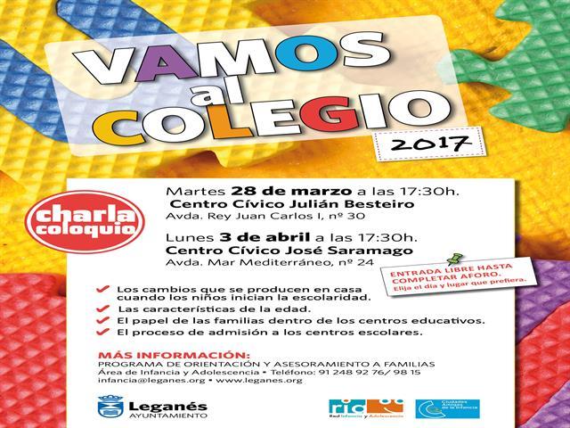 Las charlas 'Vamos al colegio' asesorarán a las familias de los niños y niñas que inicien escolaridad en septiembre