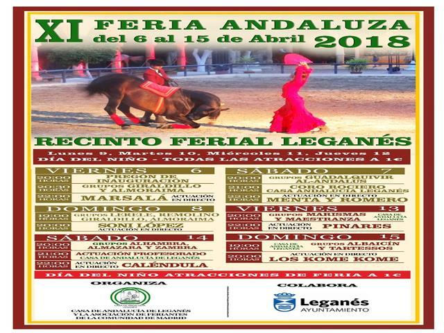 Conciertos y programación de actividades en la XI Feria Andaluza de Leganés, que arranca el próximo viernes