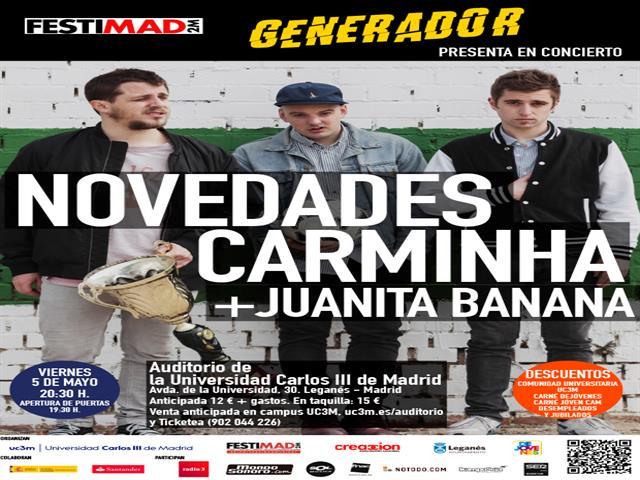 El potente directo de Novedades Carminha llega el próximo 5 de mayo a Leganés