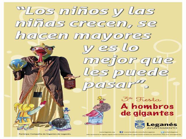 La Plaza de España de Leganés acoge este domingo la fiesta familiar 'A hombros de gigantes'