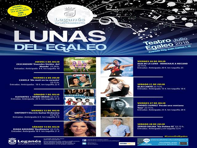 Sergio Dalma, Andrés Suárez, Diana Navarro, Blas Cantó, Camela o Varry Brava actuarán en las Lunas del Egaleo de Leganés