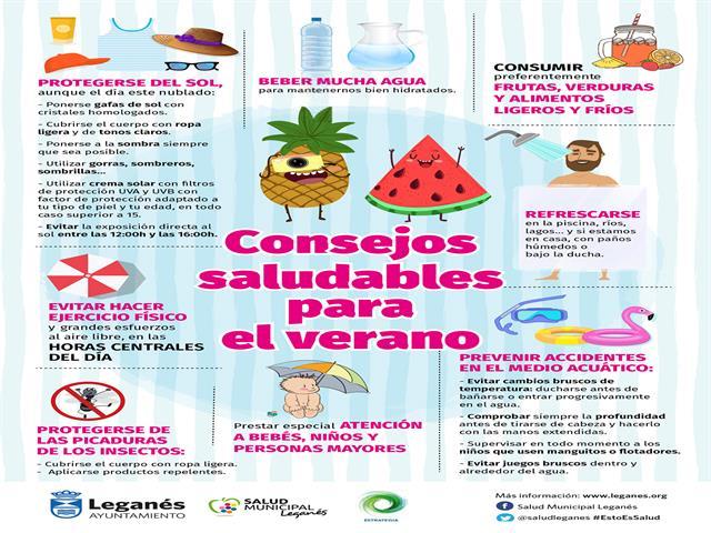 El Ayuntamiento de Leganés informa a los ciudadanos de los riesgos de la ola de calor y ofrece consejos saludables para el verano