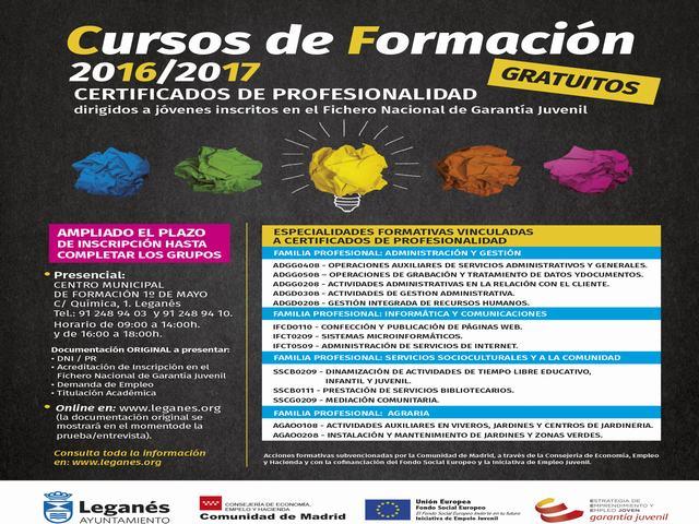 Jóvenes de la localidad podrán obtener Certificados de Profesionalidad en los 22 cursos formativos que se impartirán en 2017