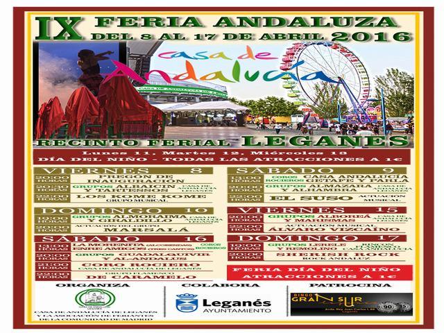 IX Feria de Andalucia en Leganés, Del 8 al 17 de Abril de 2016