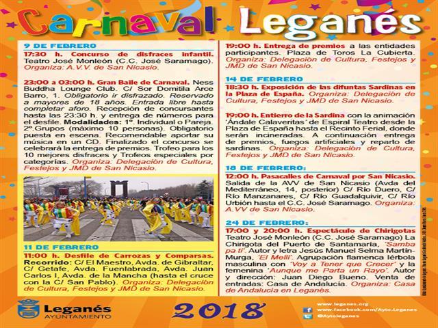 Los desfiles de Carnaval llenarán de color, música y animación las calles de Leganés y La Fortuna