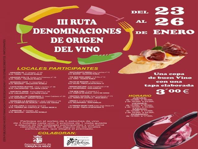 Torrejón de Ardoz acogerá del 23 al 26 de enero la III Ruta Denominaciones de Origen del Vino que ofrecerá una copa de buen vino y una tapa elaborada por 3 euros