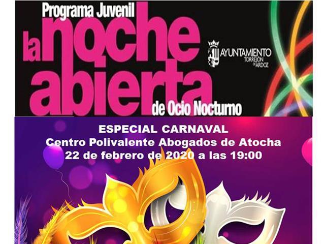 """Mañana sábado 22 de febrero continúa la programación de """"La noche abierta"""" con un baile de disfraces"""