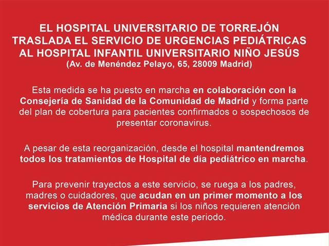 El Hospital Universitario La Paz atenderá las urgencias de ginecología, obstetricia y neonatología de Torrejón de Ardoz y el Hospital Infantil Universitario Niño Jesús las urgencias pedíatricas