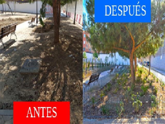 Reformados los Jardines del Barrio Verde con 77 árboles y nueva vegetación