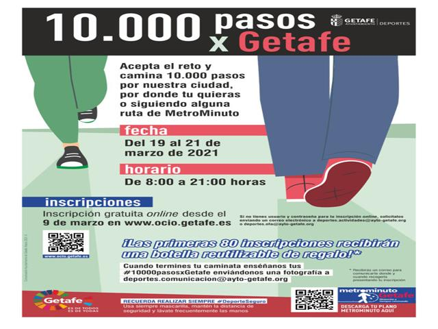 '10.000 pasos x Getafe' es la nueva propuesta de actividad física saludable para los vecinos