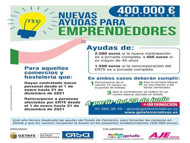 Getafe convoca nuevas ayudas de 400.000 euros para los negocios que generen empleo este año
