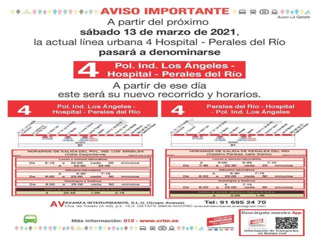 La L4 cambia su recorrido y acorta el tiempo de llegada al Hospital desde Perales del Río